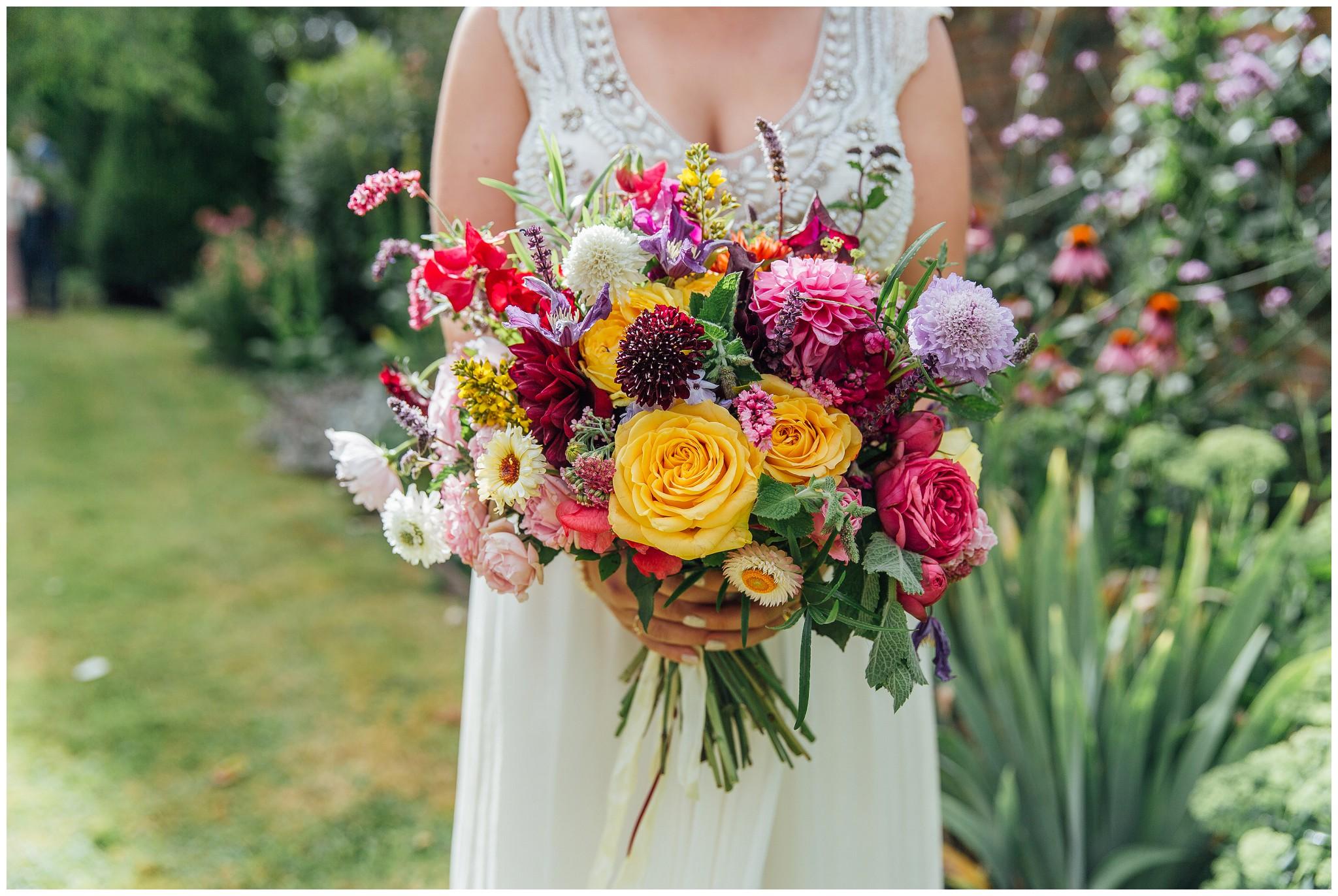 Colourful rustic bride bouquet
