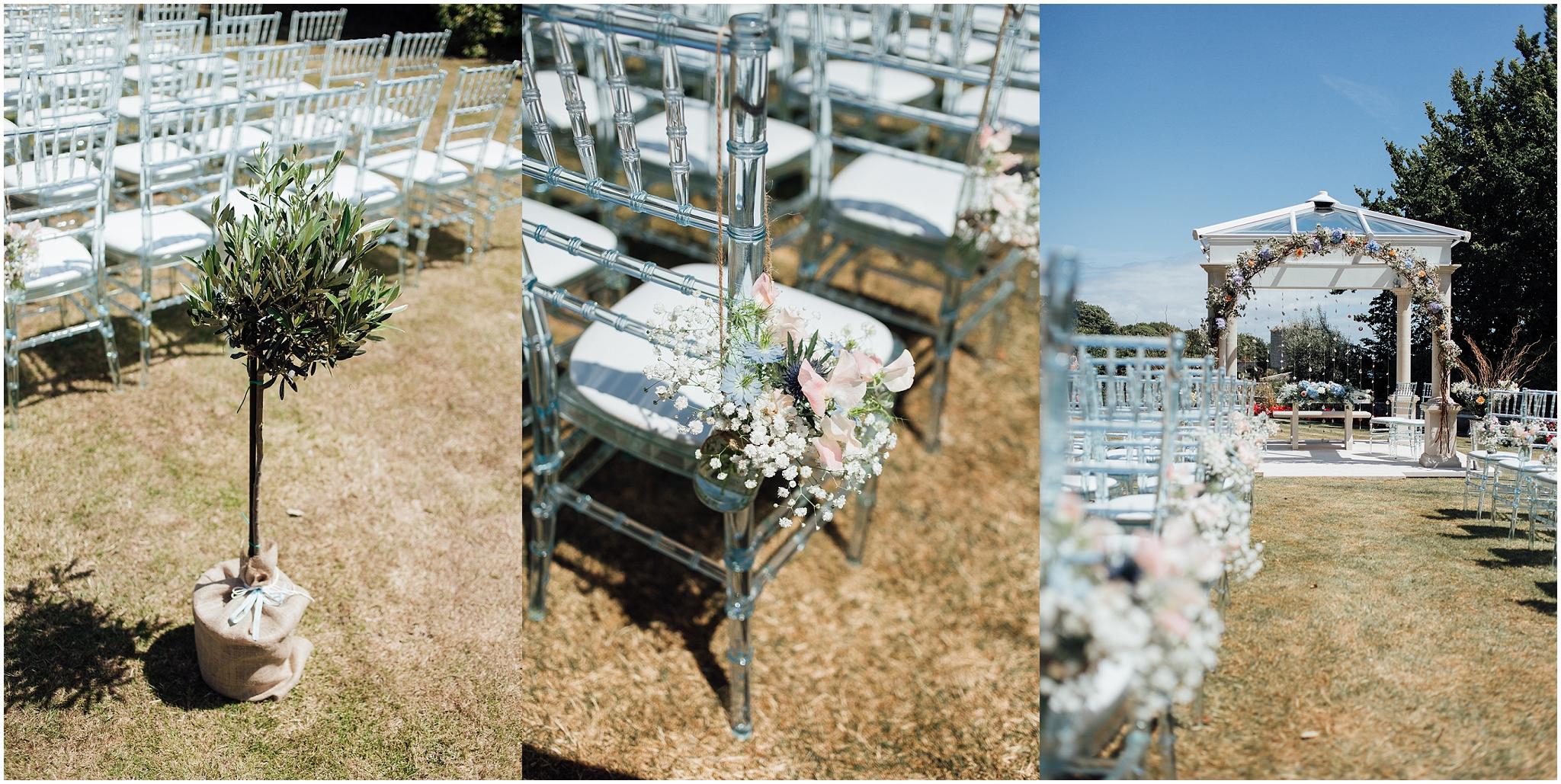 hanging florals wedding