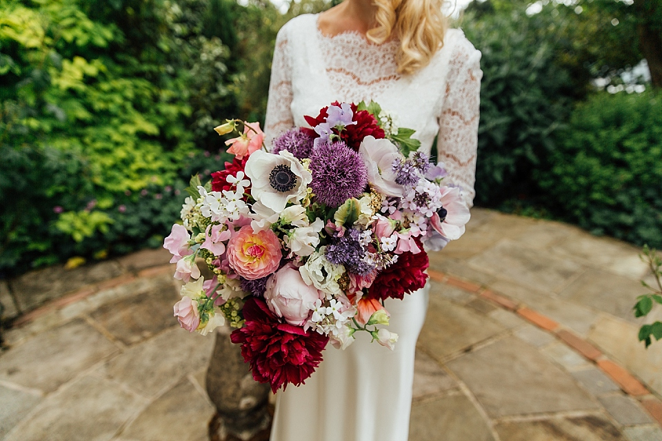 big and colourful bridal bouquet