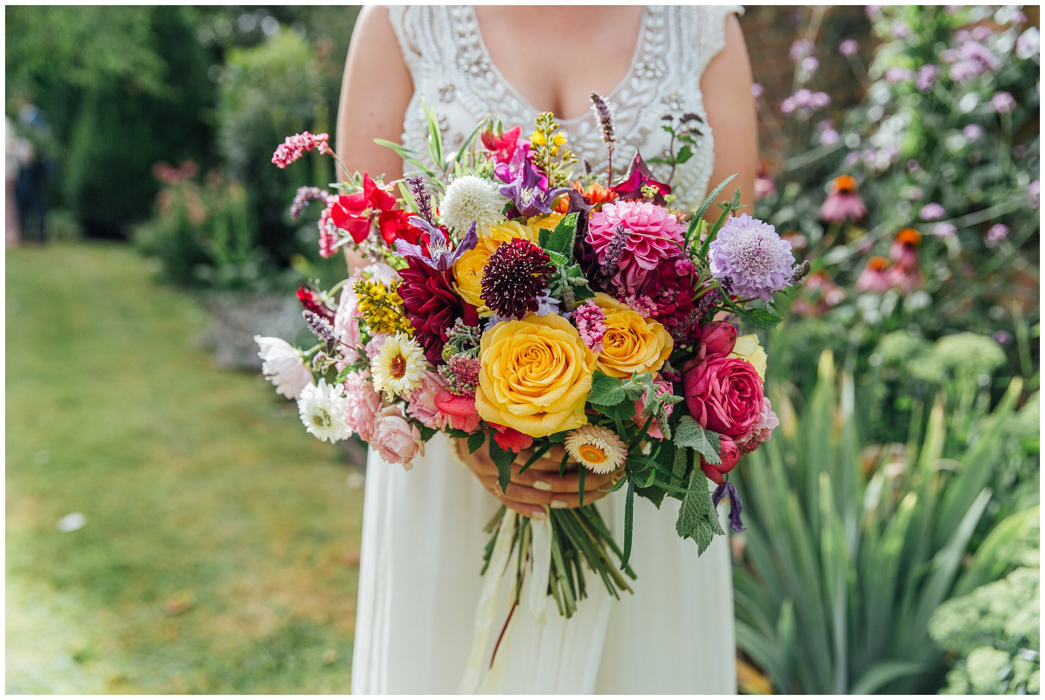 Colourful rustic bride bouquet